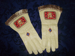 Goldwork Crowned 'A' Embroidered Gloves with Silkwork and Pearls