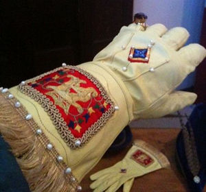 Crowned 'A' Embroidered Gloves with Silkwork and Pearls