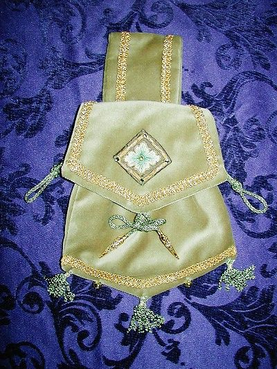 Sage green velvet pouch with silk shading and goldwork reproduced from a design from the back of pair of gloves worn by Edward I, Westminster Abbey