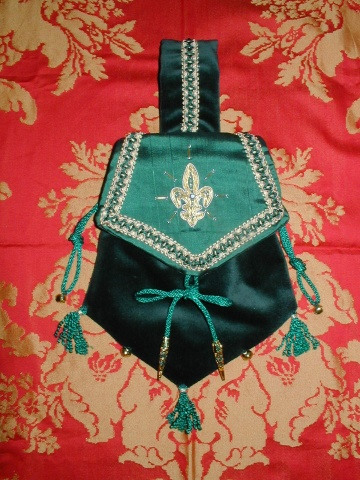 Dark Green Velvet Pouch with Green Silk Flap Embroidered with Goldwork Fleur-de-Lys