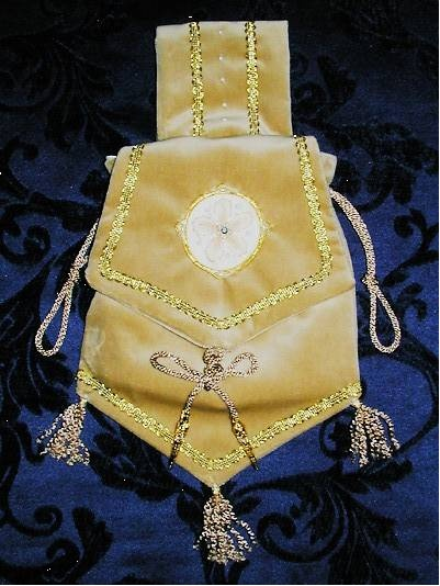Champagne Velvet Pouch with Silkwork, Crystals and pearls