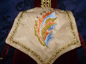 Detail of Silkwork and Goldwork on Anacanthus Leaf